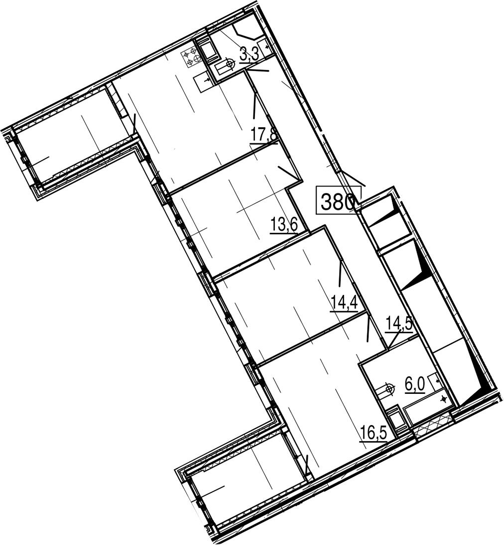 4Е-к.кв, 93.1 м², 11 этаж