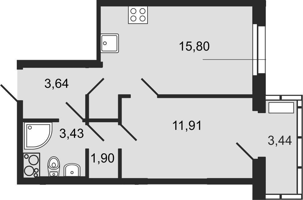 2-к.кв (евро), 40.12 м²