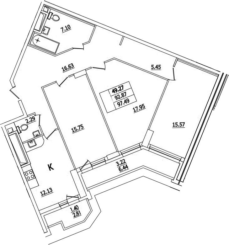 3-к.кв, 97.49 м²