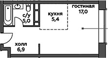 Студия, 34.3 м²– 2