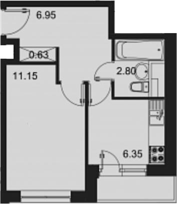 1-к.кв, 29.88 м²