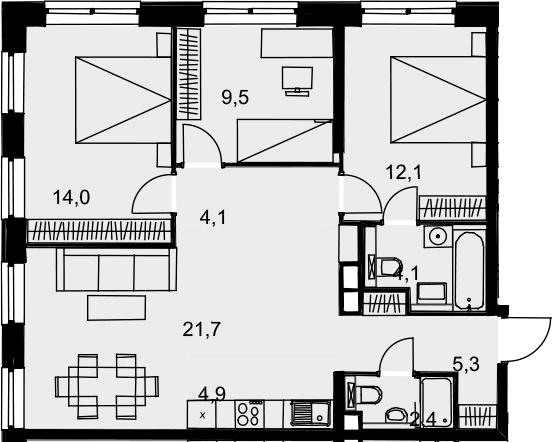 4Е-к.кв, 78.1 м², от 15 этажа