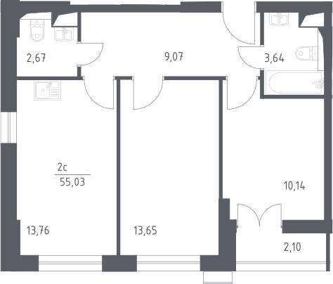 3Е-комнатная, 55.03 м²– 2