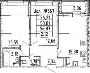 3-к.кв (евро), 56.87 м²