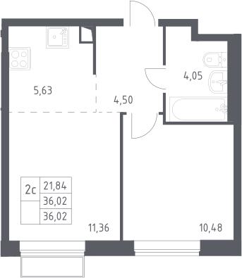2Е-комнатная, 36.02 м²– 2