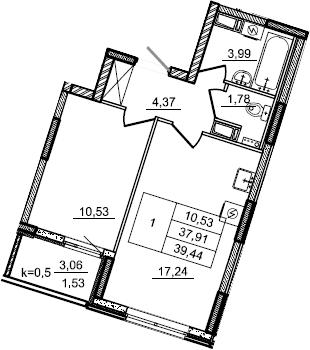 2Е-комнатная, 39.44 м²– 2