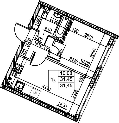 1-к.кв, 31.45 м²