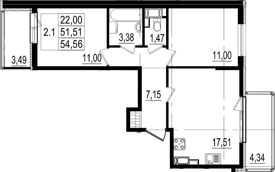 3Е-к.кв, 51.51 м²