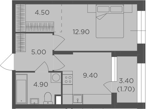 1-к.кв, 40.1 м²