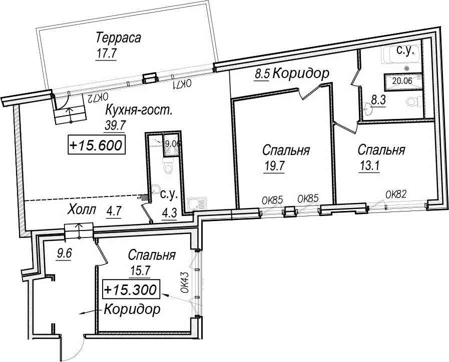 4Е-к.кв, 128.9 м², 6 этаж