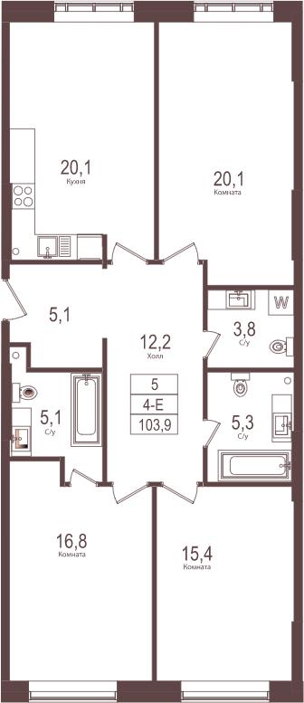 4Е-к.кв, 103.9 м²