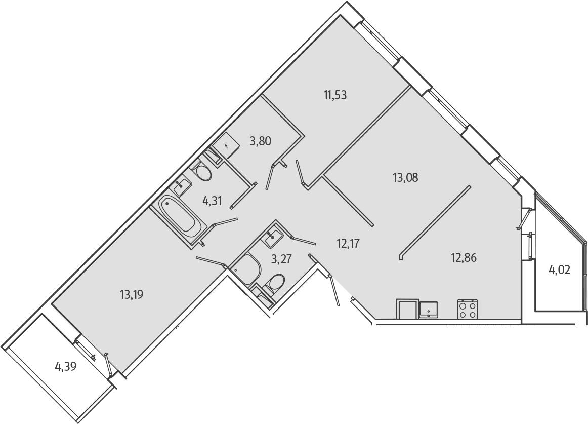 3-к.кв, 77.54 м², 1 этаж