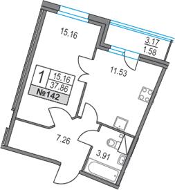 1-к.кв, 41.03 м²