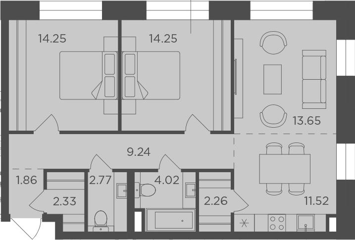 3-к.кв (евро), 76.15 м²