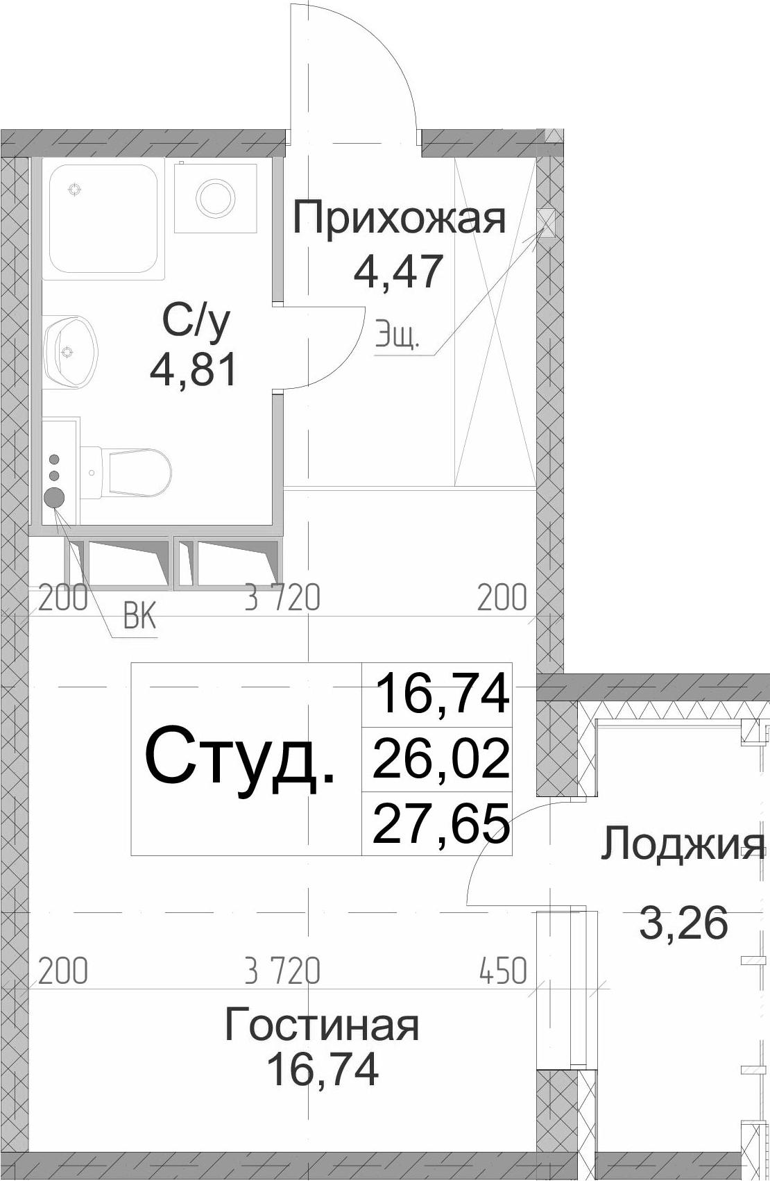 Студия, 27.65 м²– 2