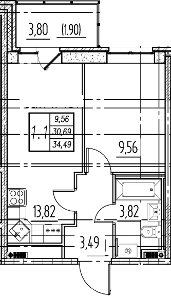 2Е-к.кв, 30.69 м²