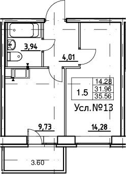 1-к.кв, 35.56 м²