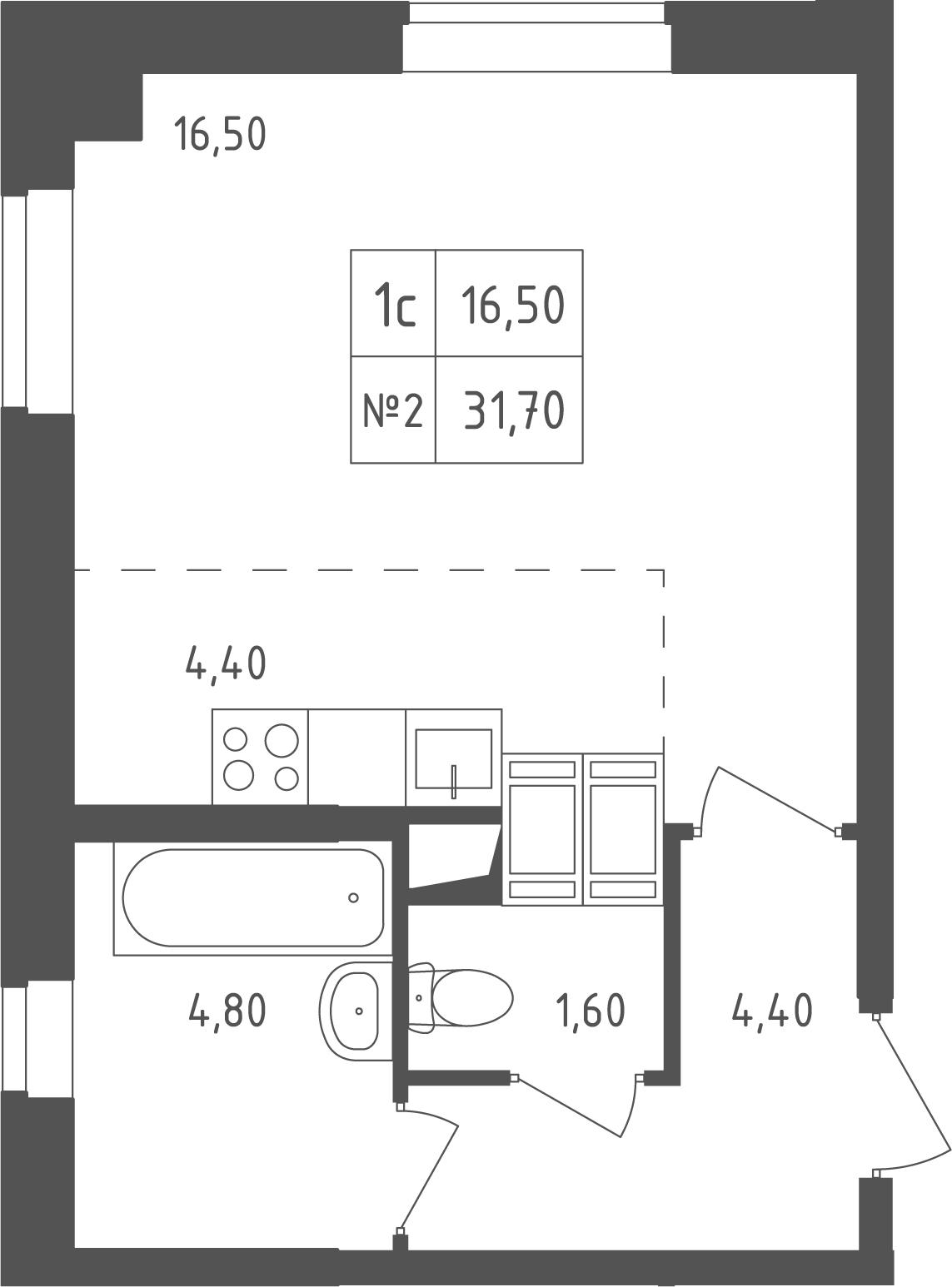 Студия, 31.7 м²– 2