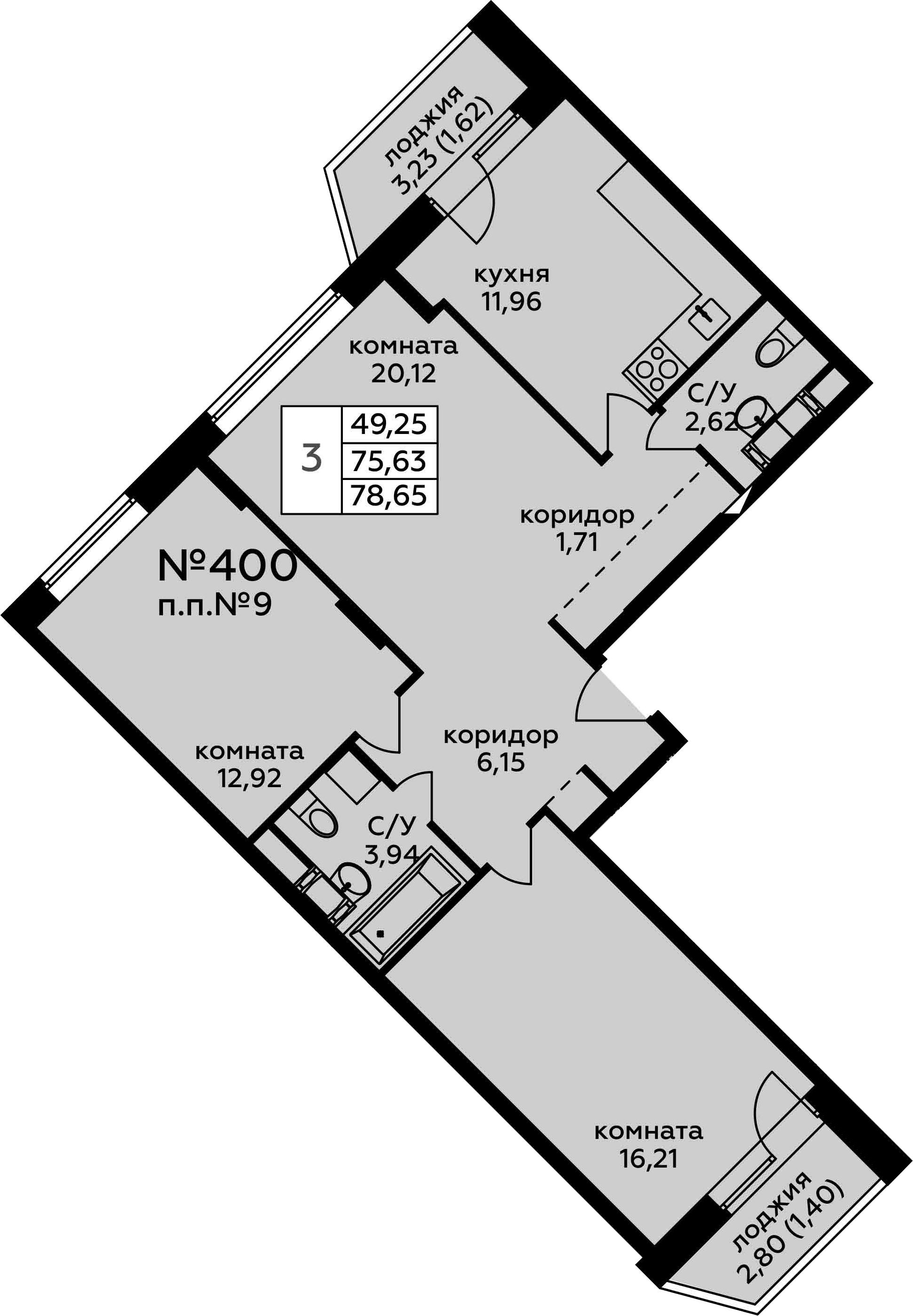 3-к.кв, 78.65 м²