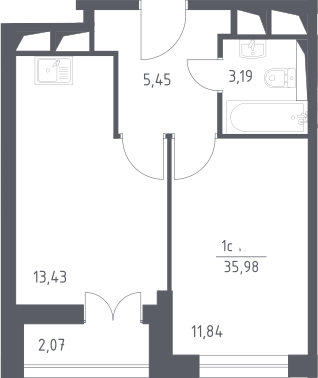 2Е-к.кв, 35.98 м², от 19 этажа