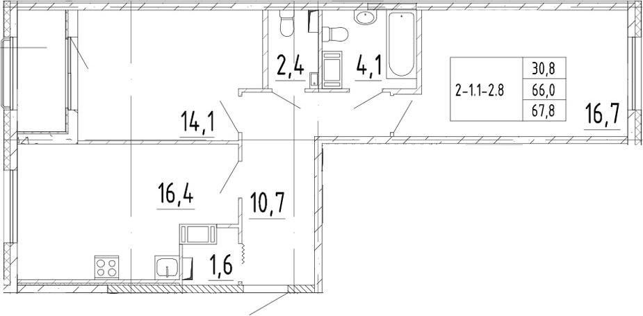 3Е-к.кв, 67.8 м², от 3 этажа
