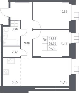 3Е-к.кв, 57.6 м², от 15 этажа