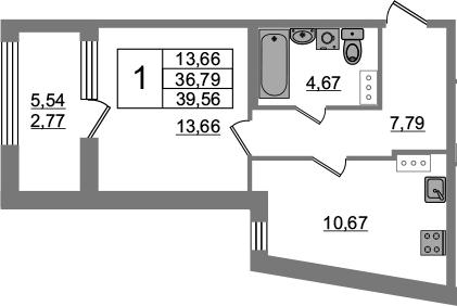 1-к.кв, 36.79 м², от 7 этажа