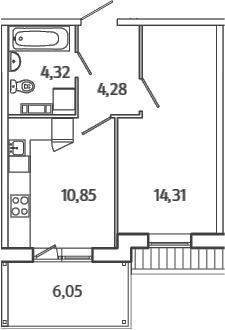 1-к.кв, 35.58 м², 5 этаж