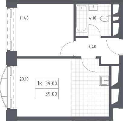 2Е-комнатная, 39 м²– 2