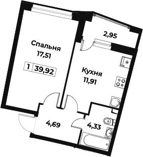 1-комнатная, 39.92 м²– 2