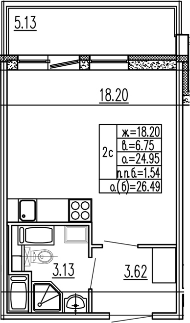 Студия, 24.95 м²