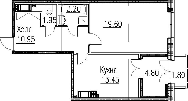 1-к.кв, 55.15 м²