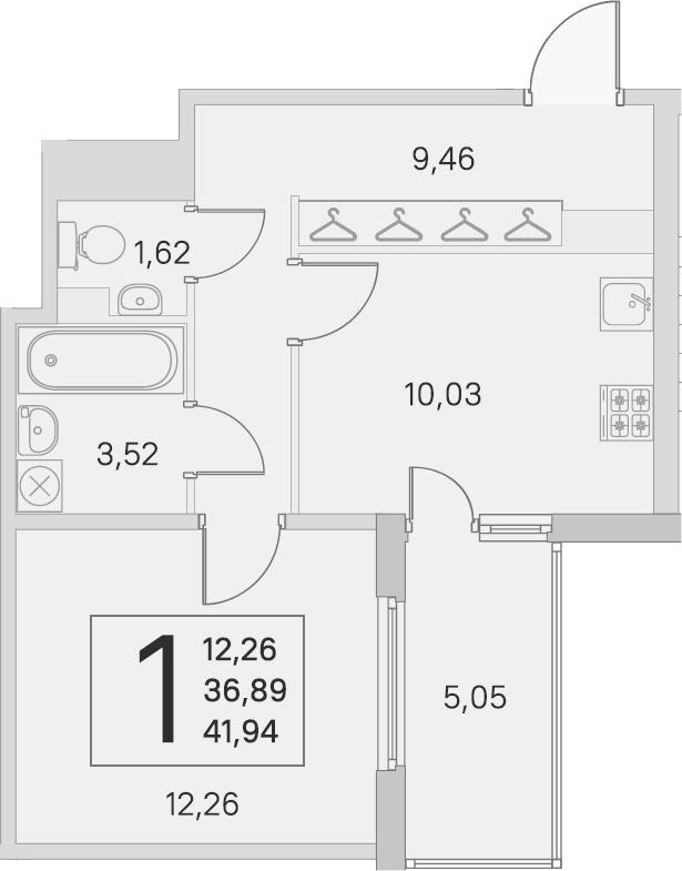 1-к.кв, 36.89 м²