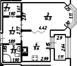 1-к.кв, 36.75 м², 2 этаж