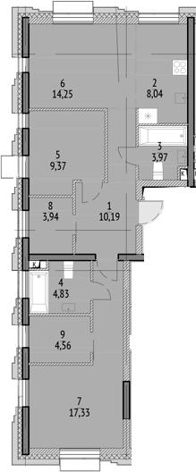3Е-к.кв, 76.48 м²
