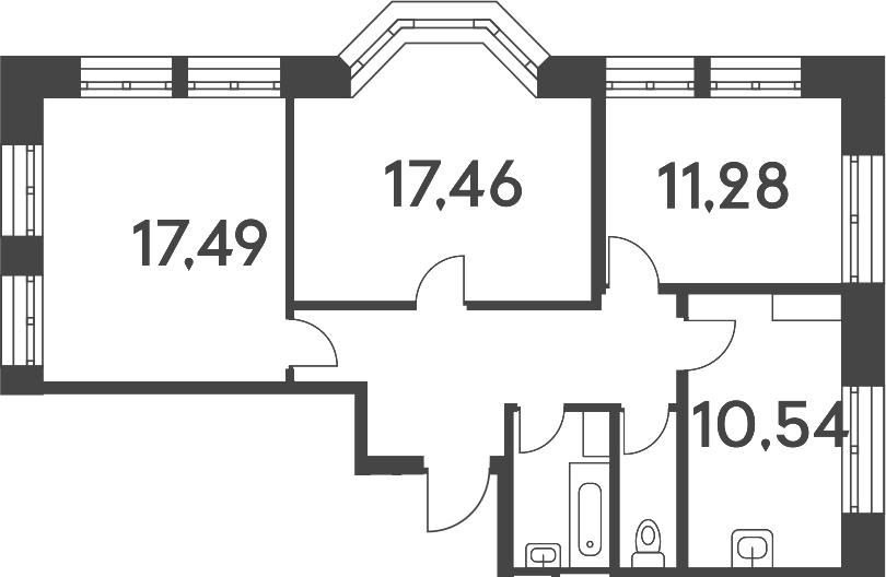 3-к.кв, 73.99 м²