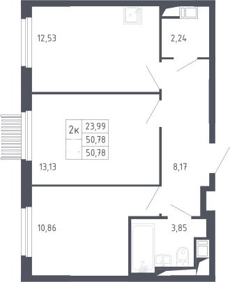 2-комнатная, 50.78 м²– 2