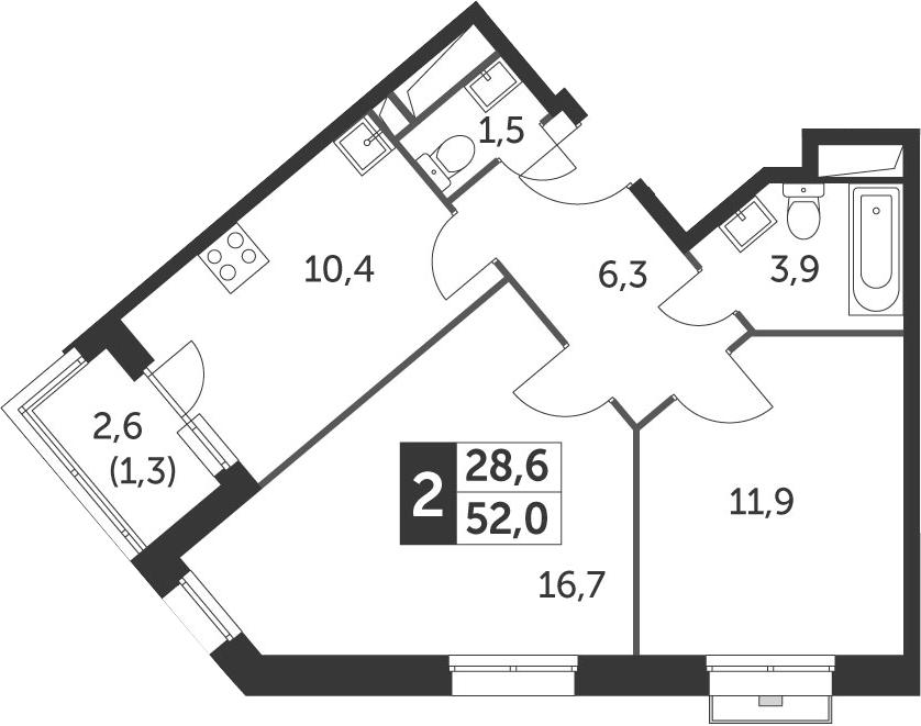 2-комнатная, 52 м²– 2