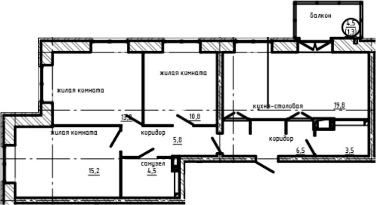 3-к.кв, 83.63 м²