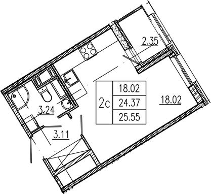 Студия, 24.37 м²– 2