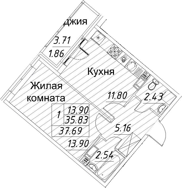 1-к.кв, 37.69 м²