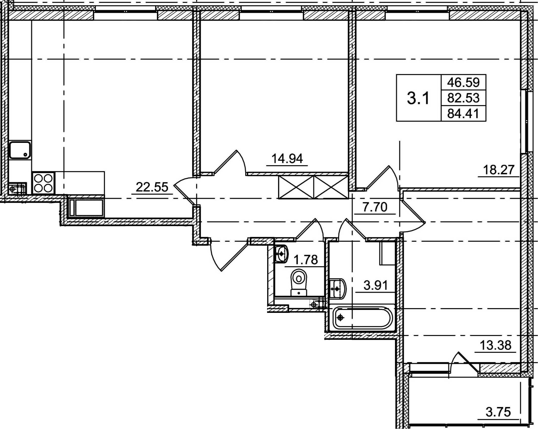 4Е-к.кв, 82.53 м²