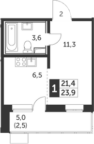 Студия, 23.9 м², 19 этаж