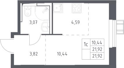 Студия, 21.92 м²