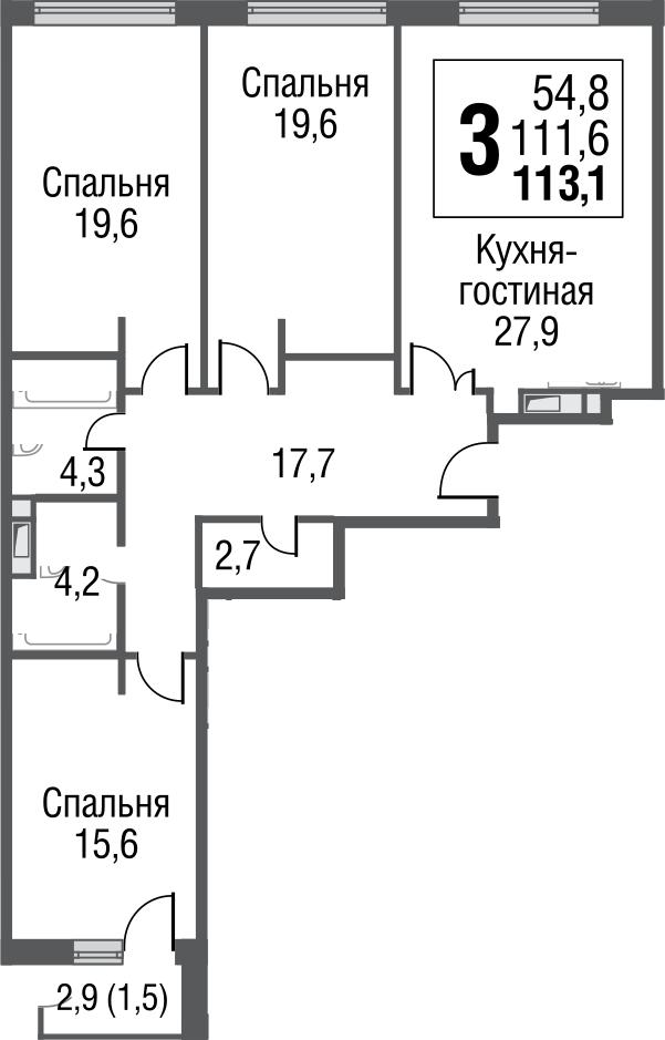 4Е-к.кв, 113.5 м²