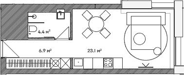 Студия, 34.4 м²– 2