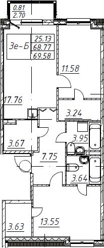 3Е-к.кв, 69.58 м², 5 этаж