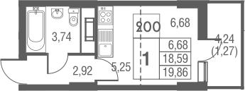 Студия, 19.86 м²