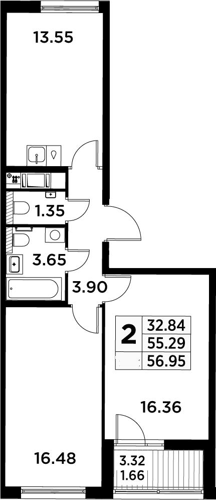 2-к.кв, 56.95 м²