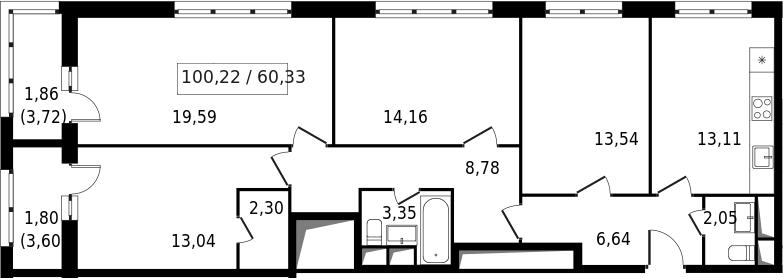 4-к.кв, 103.88 м²